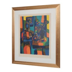 Mid Century Modern Art Abstract Colorful Still Life Lithograph Marcel Mouly