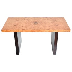 Art Deco Inlaid Burl Wood and Macassar Coffee, Side Table by Andrew Szoeke