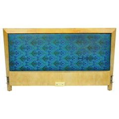 Mid-Century Modern Art Deco Burl Wood Queen Size Birdseye Maple Bed Headboard