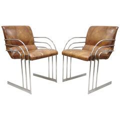 Mid-Century Modern Art Deco Chrome Cantilever Milo Baughman Armchairs, Pair