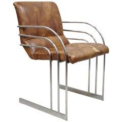 Mid-Century Modern Art Deco Chrome Cantilever Milo Baughman Style Armchair