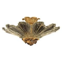 Mid-Century Modern Art Deco Crystal Starburst Shade Bronze Flush Mount Fixture