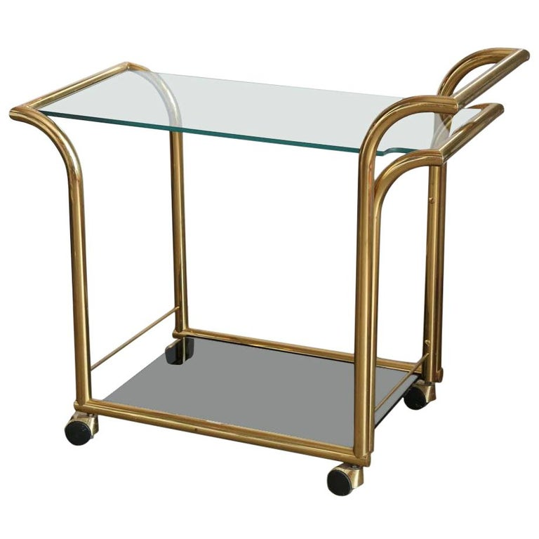 Mid-Century Modern Art Deco Inspired 2-Tier Gold Brass and Glass Bar Cart by DIA For Sale