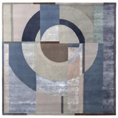 Mid-Century Modern Art Deco Style Rug in Blue and Beige by Rug & Kilim