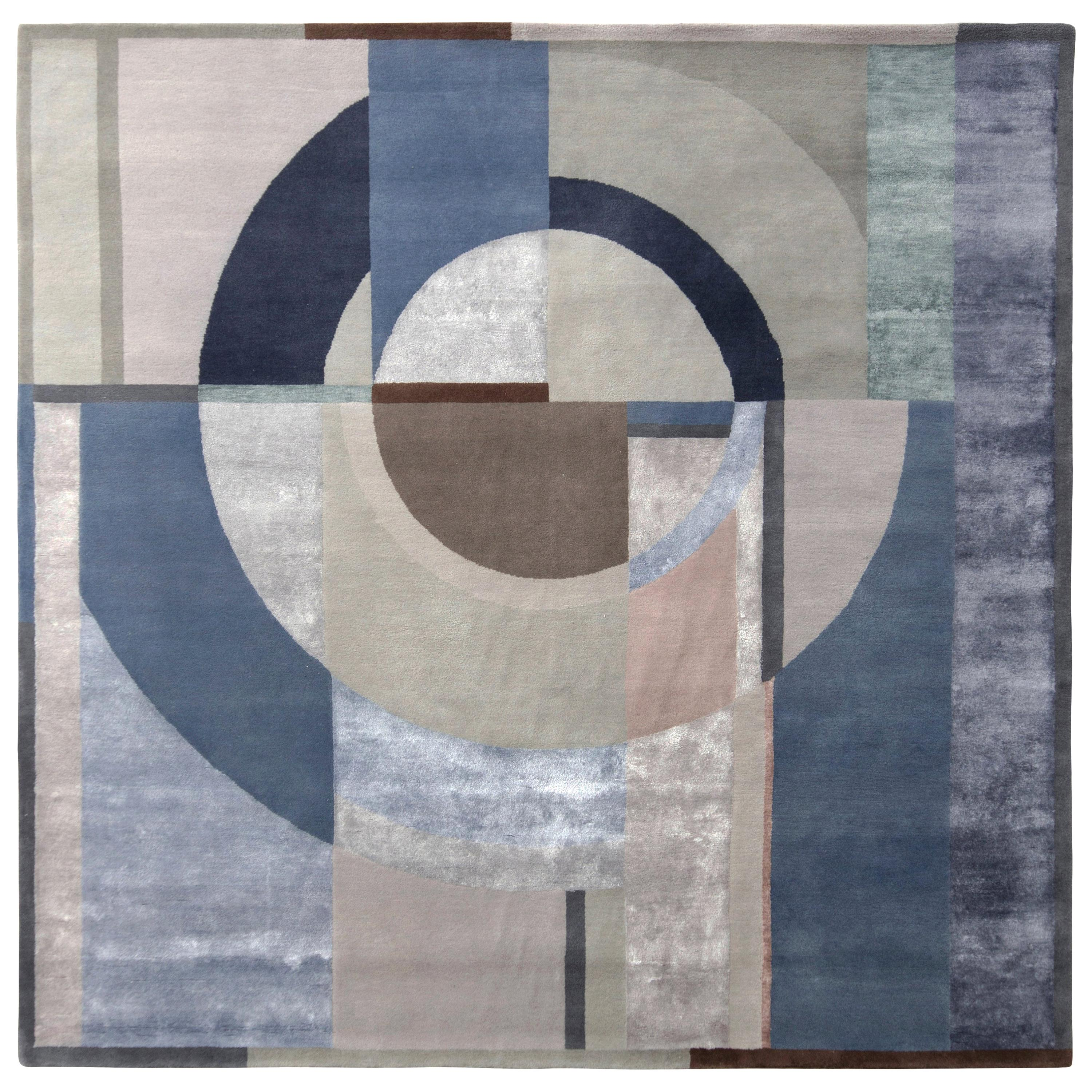 Rug & Kilim's Mid-Century Modern Art Deco Style Rug in Blue and Beige