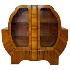 Mid-Century Modern Art Deco Walnut Display Case, English, circa 1935