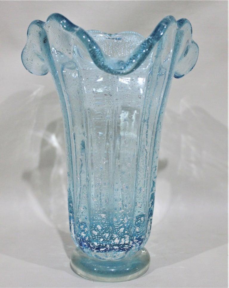 Italian Mid-Century Modern Art Glass Aqua Blue Murano Vase Attributed to Barovier For Sale