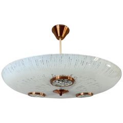 Mid-Century Modern Art Glass Flush Mount / Pendant with Built-In 'Spotlights'