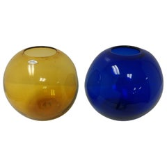 Mid-Century Modern Art Glass Vases by Blenko Blue and Amber