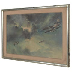 Mid-Century Modern Art Painting Vintage Airplane Art, Oil on Canvas
