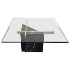 Mid-Century Modern Artedi Black Marble Glass and Brass Coffee Table