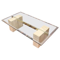 Mid-Century Modern Artedi Marble Brass Glass Rectangular Coffee Table, Italy