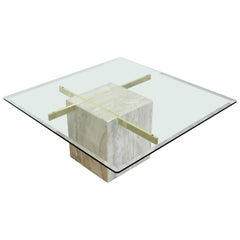 Mid-Century Modern Artedi Travertine and Brass Square Coffee Table, Italy, 1970s