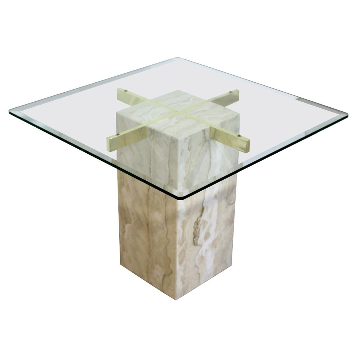 Mid-Century Modern Artedi Travertine & Brass Square Side End Table, Italy, 1970s