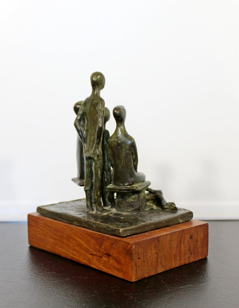 American Mid-Century Modern Arthur Schneider Signed Bronze Table Sculpture Wood Base For Sale
