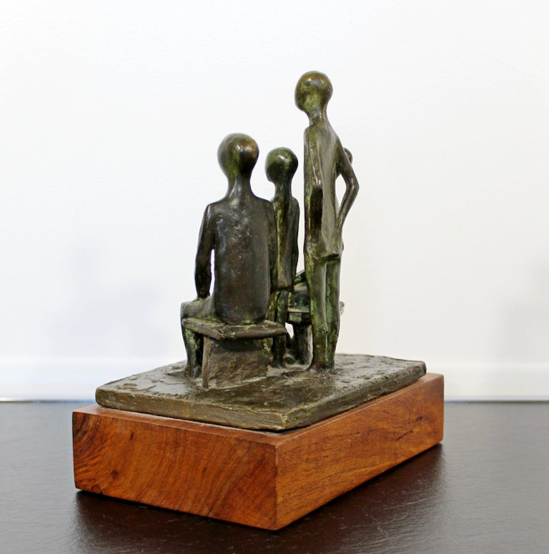 Late 20th Century Mid-Century Modern Arthur Schneider Signed Bronze Table Sculpture Wood Base For Sale