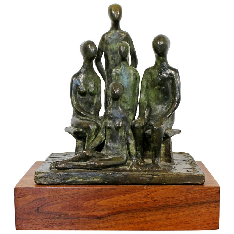 Mid-Century Modern Arthur Schneider Signed Bronze Table Sculpture Wood Base For Sale
