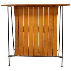 Mid-Century Modern Arthur Umanoff for Raymor Iron & Wood Slat Standing Bar 1950s