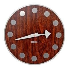 Mid-Century Modern Arthur Umanoff Howard Miller Rosewood Chrome Wall Clock