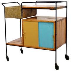 Mid-Century Modern Arthur Umanoff Tiki Bar Cart Wrought Iron Rush & Wood, 1950s