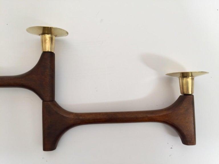 Mid-Century Modern Articulating Teak and Brass Folding Candleholder For Sale 7