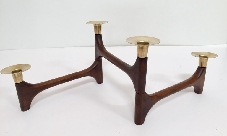 20th Century Mid-Century Modern Articulating Teak and Brass Folding Candleholder For Sale