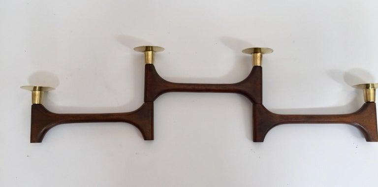 Mid-Century Modern Articulating Teak and Brass Folding Candleholder For Sale 1