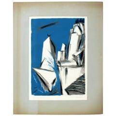 Mid Century Modern artist Emil Weddige unframed Lithograph Roaming Point