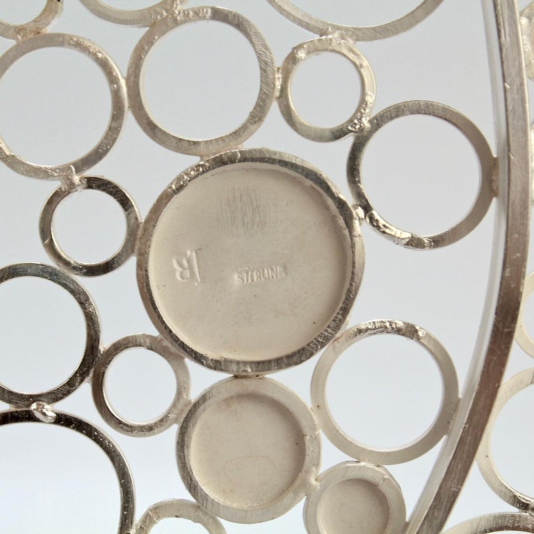 Mid-Century Modern Artist Signed Handmade Sterling Silver Trivet with Polka Dots For Sale 3