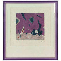 Mid-Century Modern Abstract Lithograph by Henri Goetz, circa 1960s, Signed