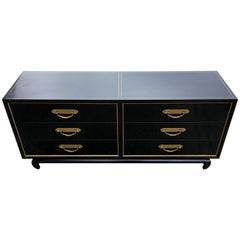 Mid-Century Modern Asian American of Martinsville Black Lacquer Six-Drawer Chest