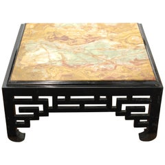 Mid-Century Modern Asian Style Cocktail Table with Marble Top