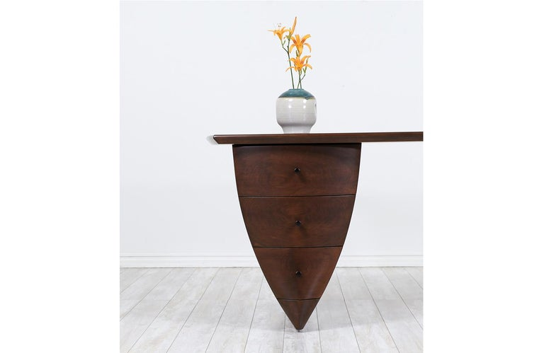 Mid-Century Modern Asymmetrical Executive Desk after Wendell Castle For Sale 1