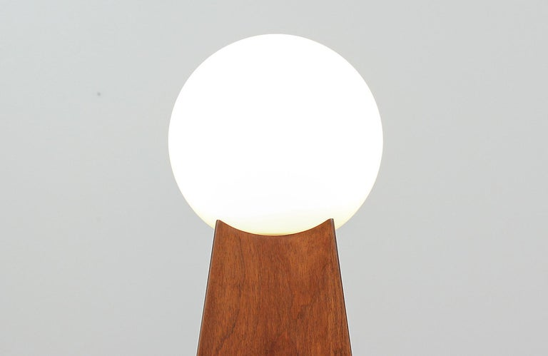 Glass Mid-Century Modern Asymmetrical Table Lamps with Frosted Globes For Sale