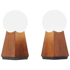 Mid-Century Modern Asymmetrical Table Lamps with Frosted Globes