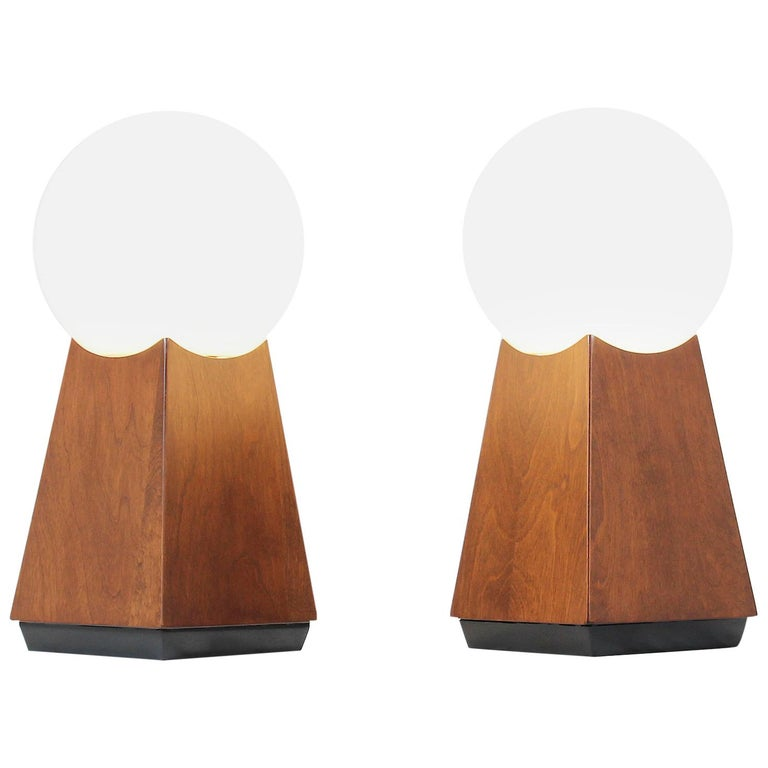 Mid-Century Modern Asymmetrical Table Lamps with Frosted Globes For Sale