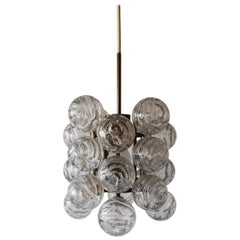 Mid-Century Modern Atomic Balls & Brass Pendant Lamp by Doria, 1960s Germany