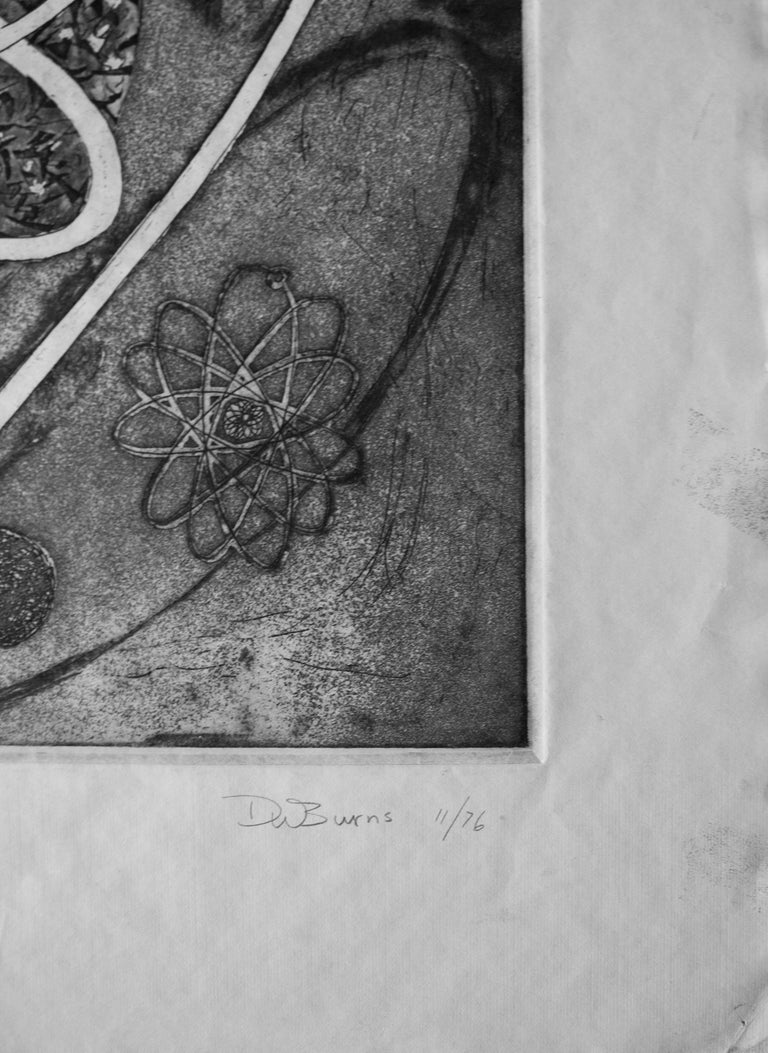 American Mid-Century Modern Atomic Black Ink Surrealist Etching, First Stage Print, 1976 For Sale