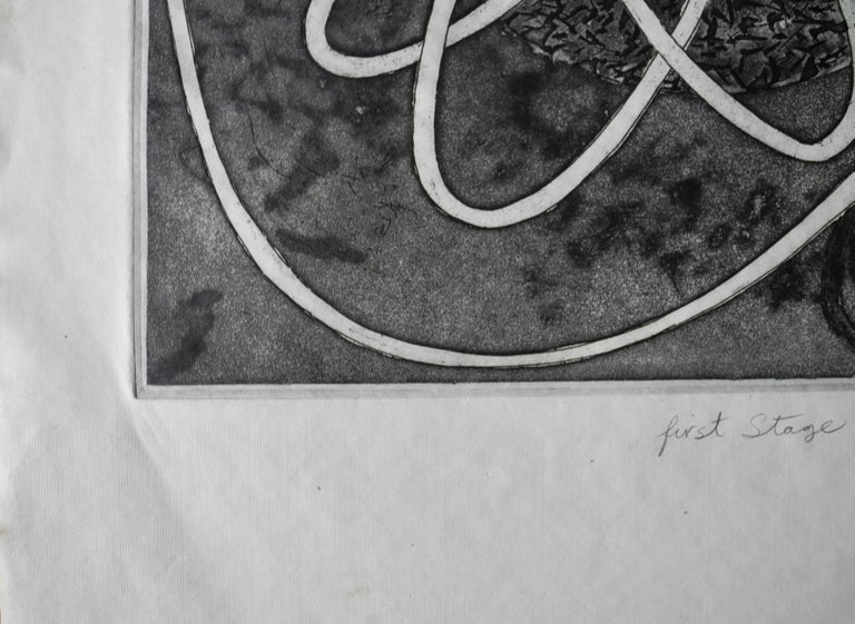 Mid-Century Modern Atomic Black Ink Surrealist Etching, First Stage Print, 1976 In Good Condition For Sale In Hudson, NY
