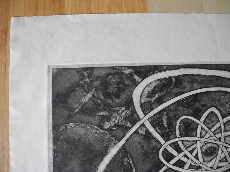 Paper Mid-Century Modern Atomic Black Ink Surrealist Etching, First Stage Print, 1976 For Sale