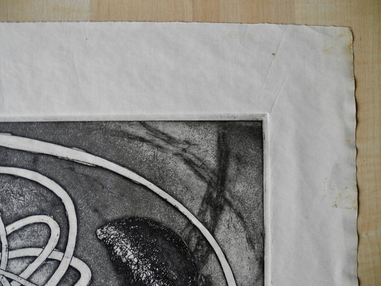 Mid-Century Modern Atomic Black Ink Surrealist Etching, First Stage Print, 1976 For Sale 1