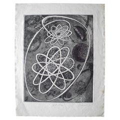 Mid-Century Modern Atomic Black Ink Surrealist Etching, First Stage Print, 1976