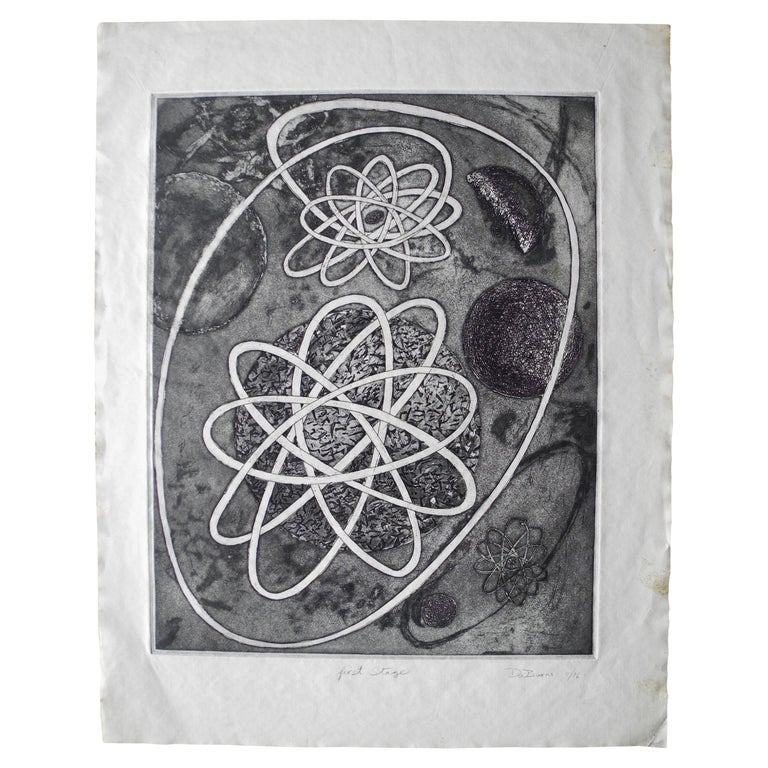 Mid-Century Modern Atomic Black Ink Surrealist Etching, First Stage Print, 1976 For Sale