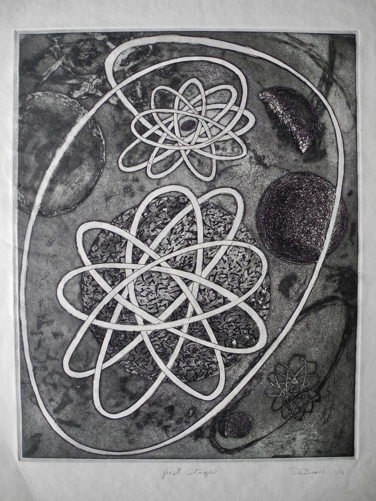 Vintage handmade etching of atomic subject matter in black ink on paper. First stage, signed and dated D W Burns, 1976.