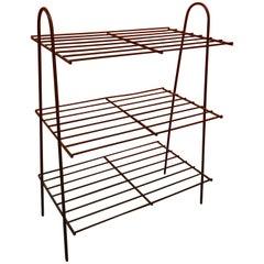 Mid-Century Modern Atomic Iron Wire Book Shelf or Rack