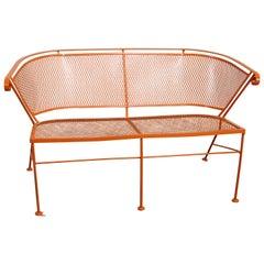 Mid-Century Modern Atomic Orange Outdoor Metal Curved Back Bench
