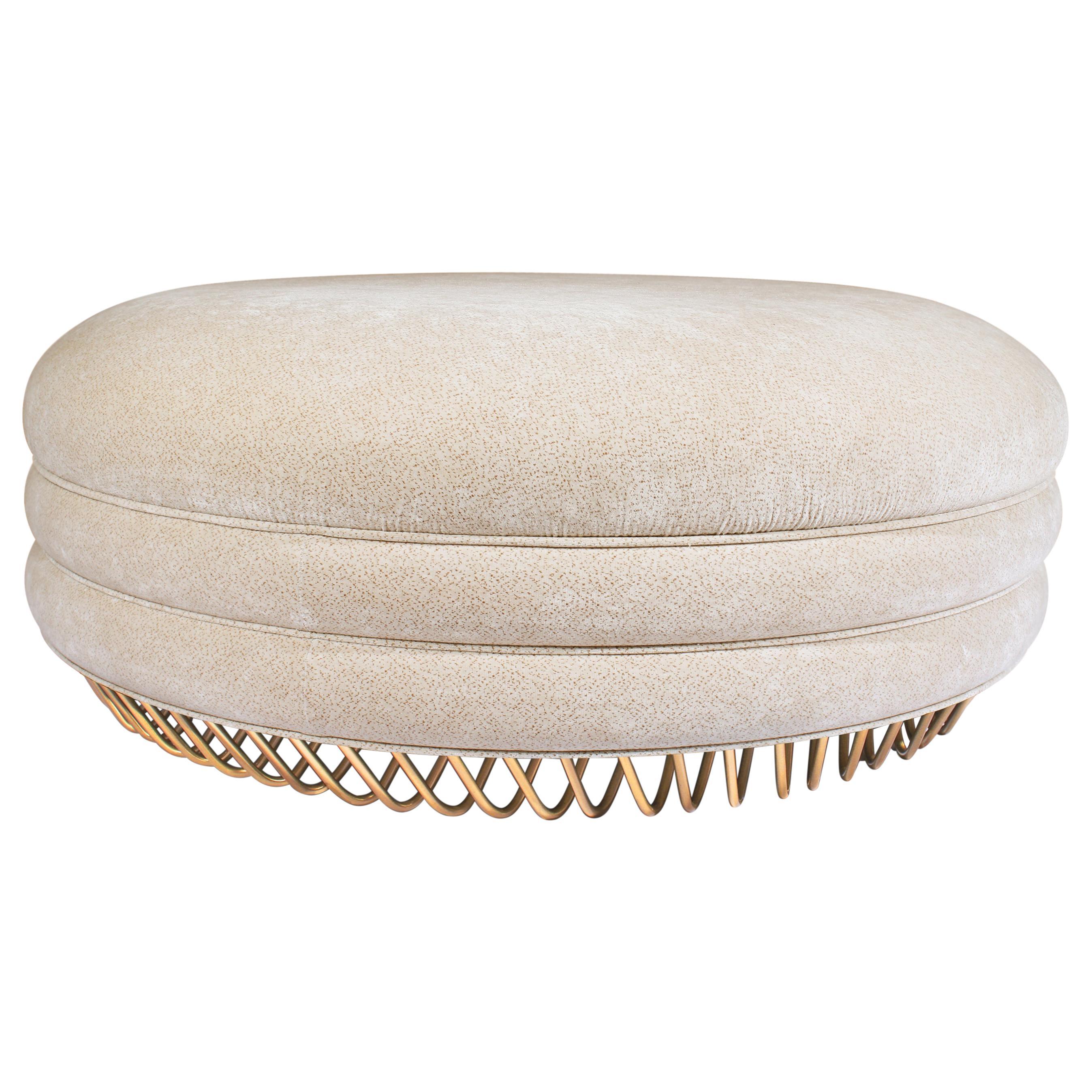 Mid-Century Modern Audrey Bench Brass Cotton Velvet