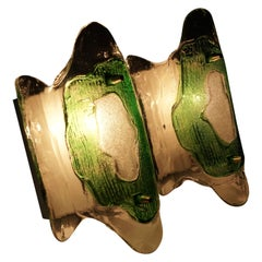 Midcentury, Modern, Austrian Glass Wall Lights by J. T .Kalmar, 1969, Green