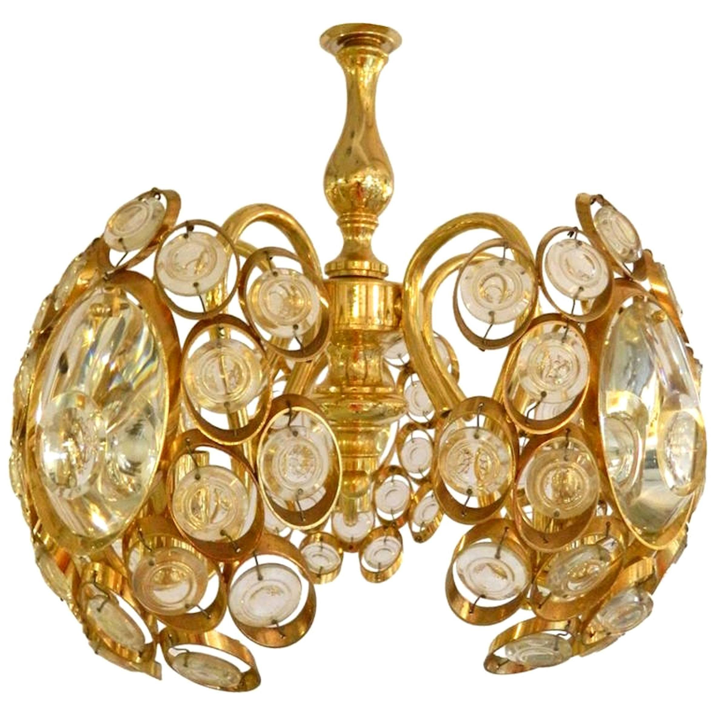 Mid century modern austrian lobmeyr cut crystal and gold plated mid century modern austrian lobmeyr cut crystal and gold plated chandelier for sale at 1stdibs aloadofball Image collections