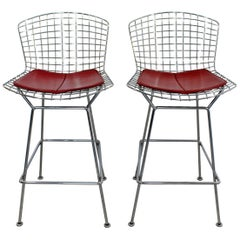 Mid-Century Modern Authentic Knoll Pair of Chrome Metal Wire Bar Stools, 1970s